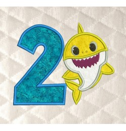 baby shark birthday number 2 applique