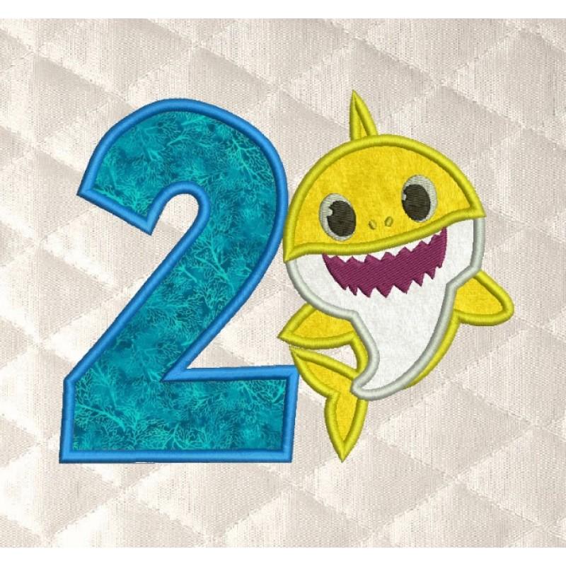 baby shark birthday number 2 applique