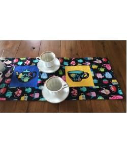 Tea Table Runner stippling 3 designs in the hoop