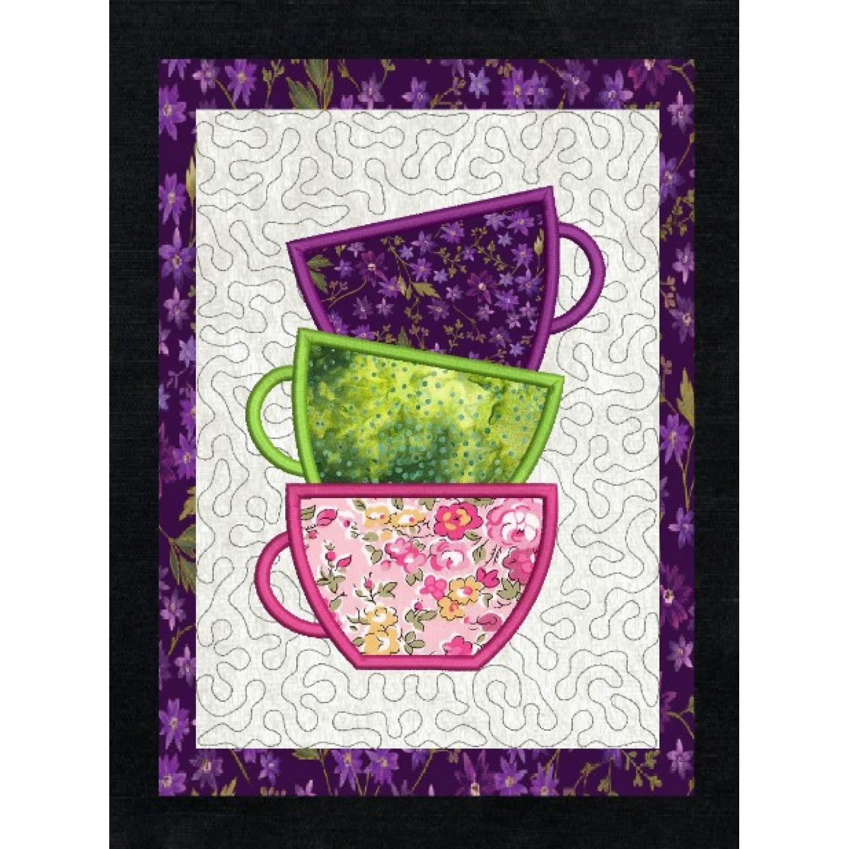 Tea cups applique stippling in the hoop
