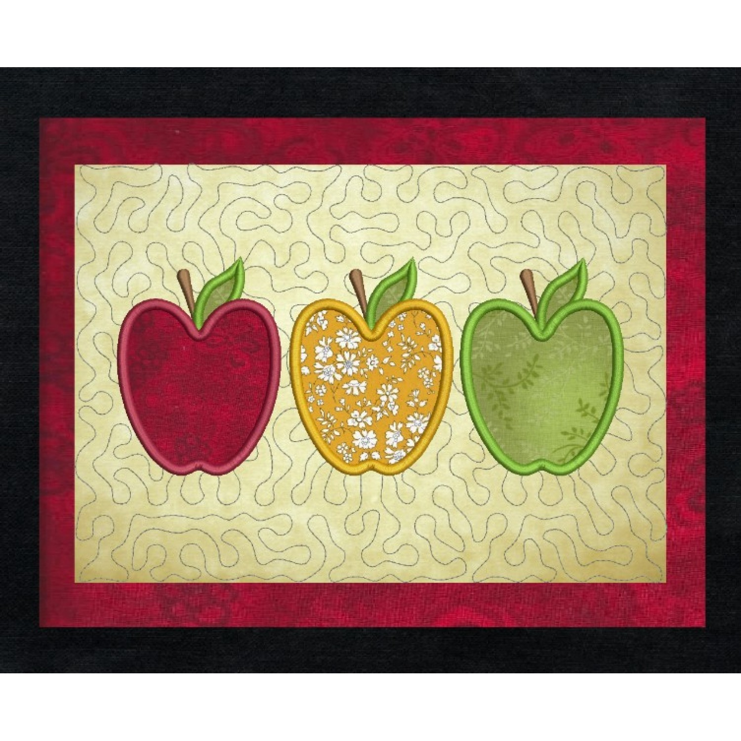 Three apples applique stippling in the hoop