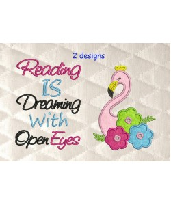 flamingo with reading is dreaming