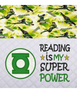 Green lantern Logo applique with Reading is My Super power 2 designs 3 sizes