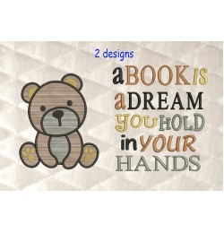 bear serte with a book is a dream 2 designs 3 sizes