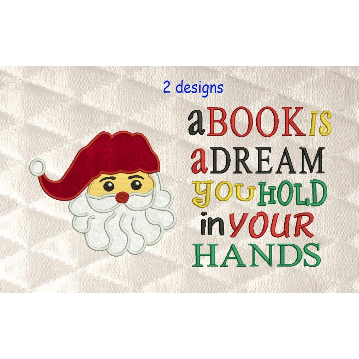 santa face applique with a book is 2 designs 3 sizes