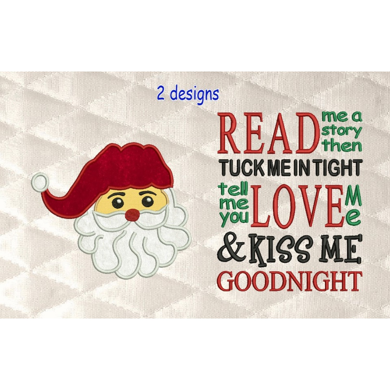 santa face applique with read me a story 2 designs 3 sizes