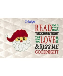 santa face applique with read me a story 2 designs 3 sizes