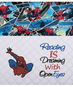Spiderman lonway with reading is dreaming