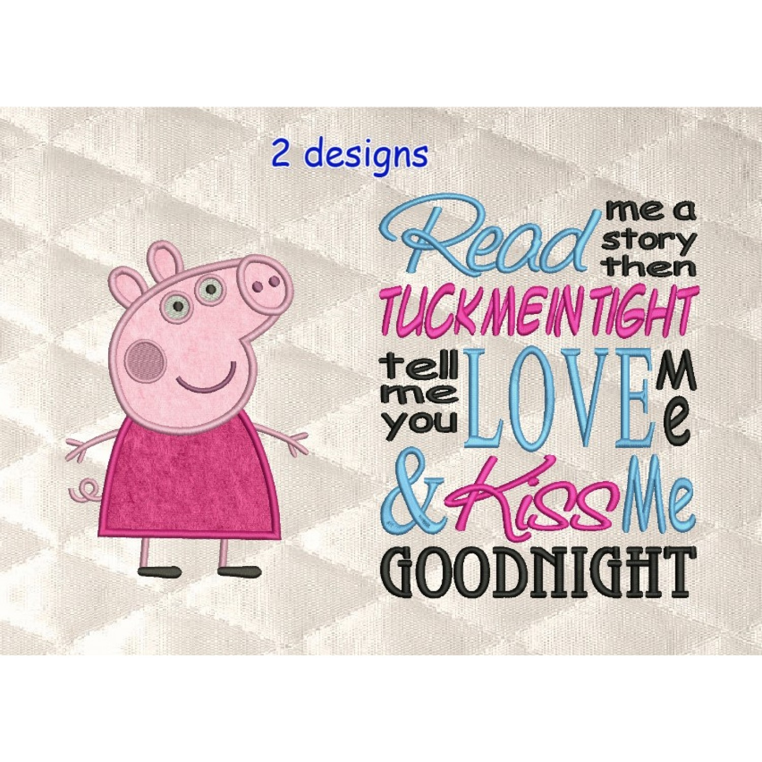 Peppa Pig applique with read me 2 designs 3 sizes