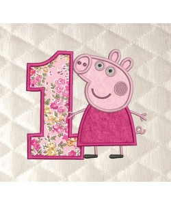 Peppa Pig birthday number 1 applique