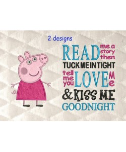 Peppa Pig applique with read me a story 2 designs 3 sizes