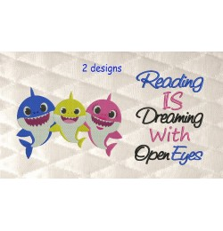 Baby shark embroidery with reading is dreaming