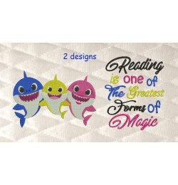 Baby shark embroidery with Reading is one