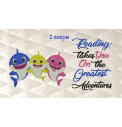 Baby shark embroidery with reading takes you