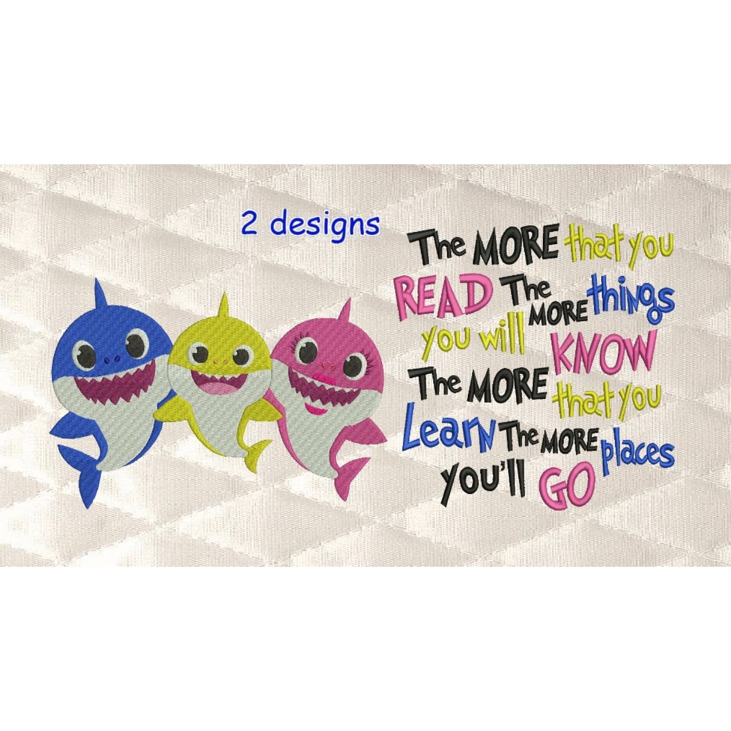 Baby shark embroidery with the more that you read