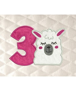 llama face birthday number 3 applique