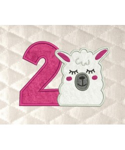 llama face birthday number 2 applique
