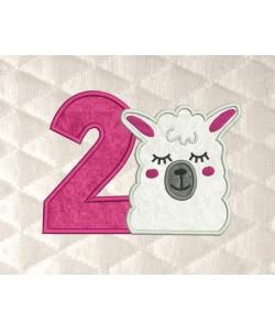 llama face birthday number 2 applique
