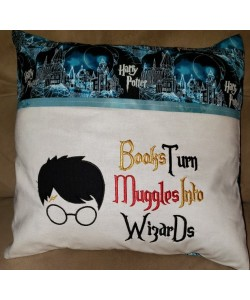 Harry Potter Face Applique with Books Turn 2 designs 3 sizes