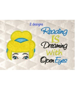 cinderella face with reading is dreaming
