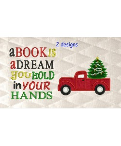 Christmas Truck applique with a book is 2 designs 3 sizes