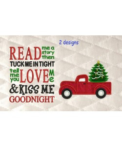 Christmas Truck applique with read me a story 2 designs 3 sizes