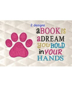 paw prints applique with A Book Is A Dream 2 designs 3 sizes