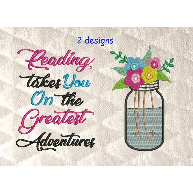 mason jar with reading takes you 2 designs 3 sizes