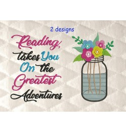 mason jar with reading takes you 2 designs 3 sizes