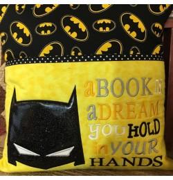 Batman Mask Applique with a book is a dream 2 designs 3 sizes