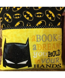 Batman Mask Applique with a book is a dream 2 designs 3 sizes