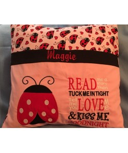 ladybug applique with read me a story