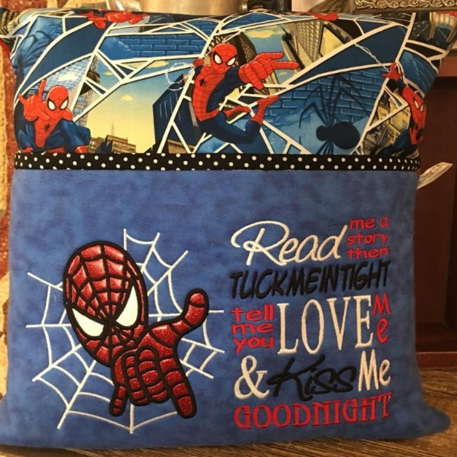 spiderman read me reading pillow