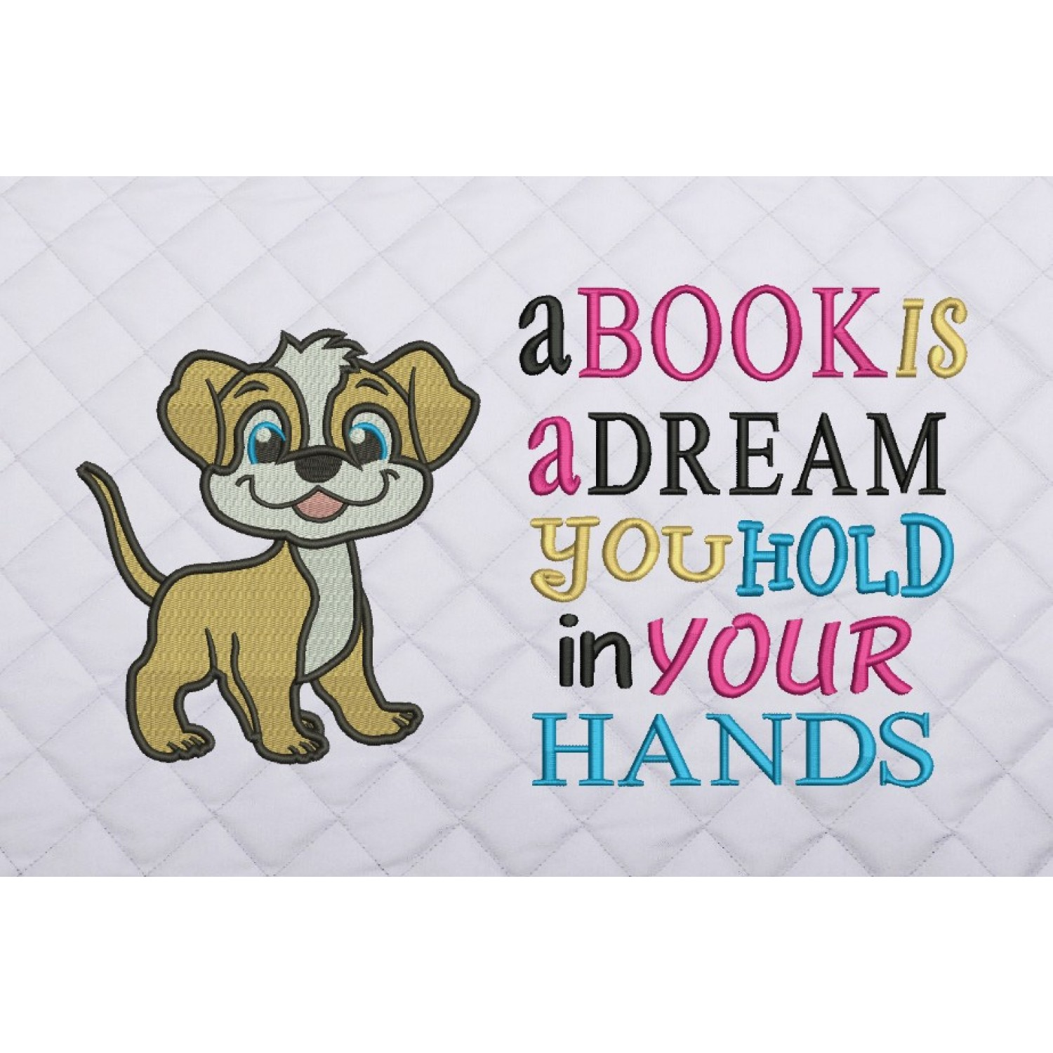 dog embroidery a book is a dream
