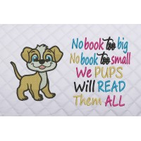 dog embroidery with no book too big