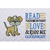 dog embroidery with read me a story