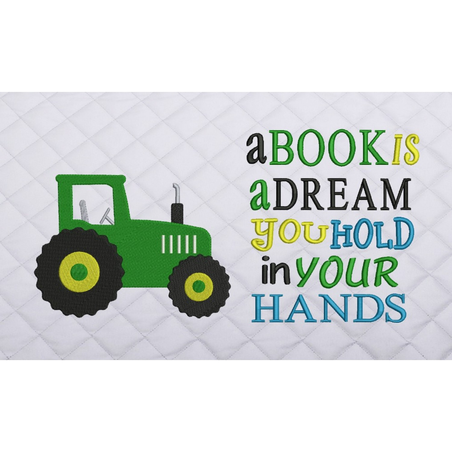 tractor embroidery a book is a dream