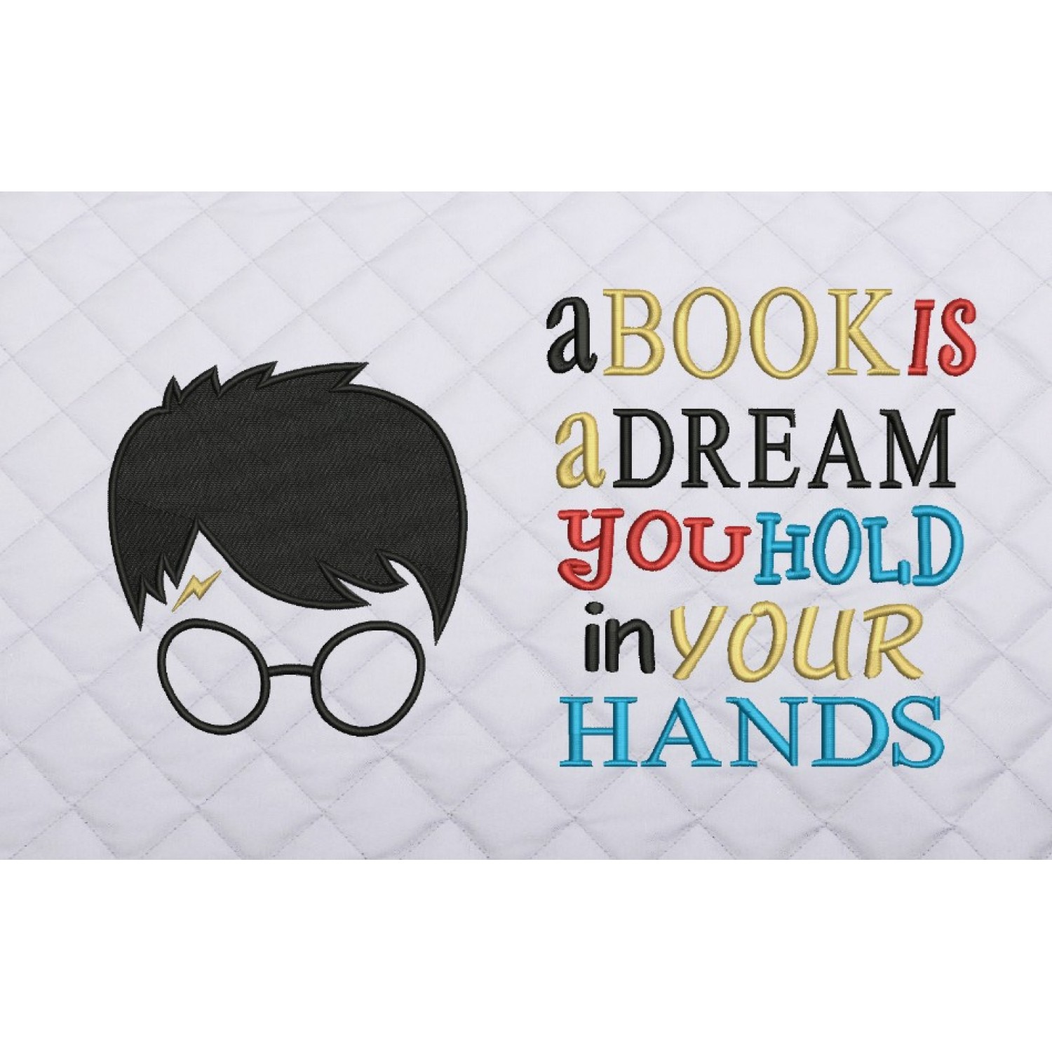Harry potter face embroidery with a book is a dream