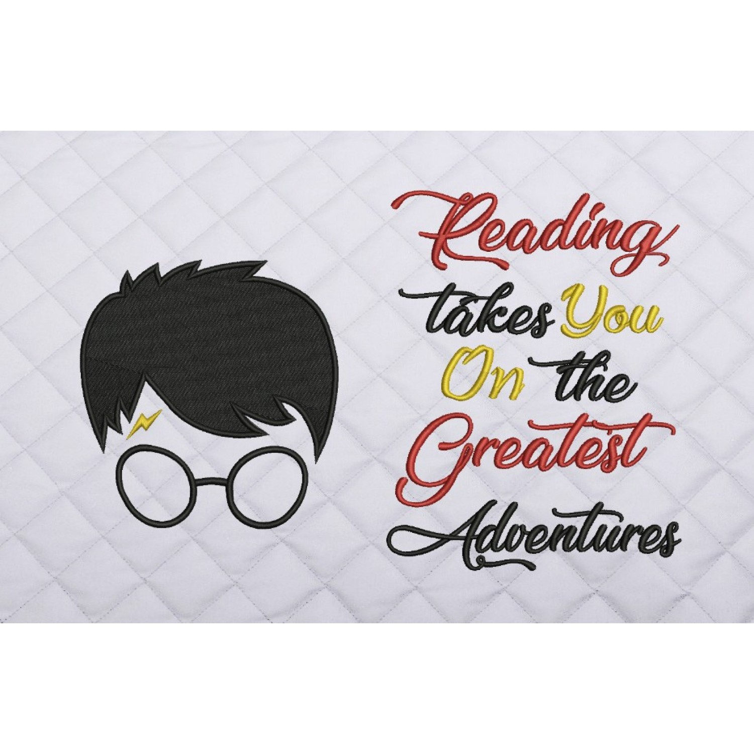 Harry potter face embroidery reading takes you