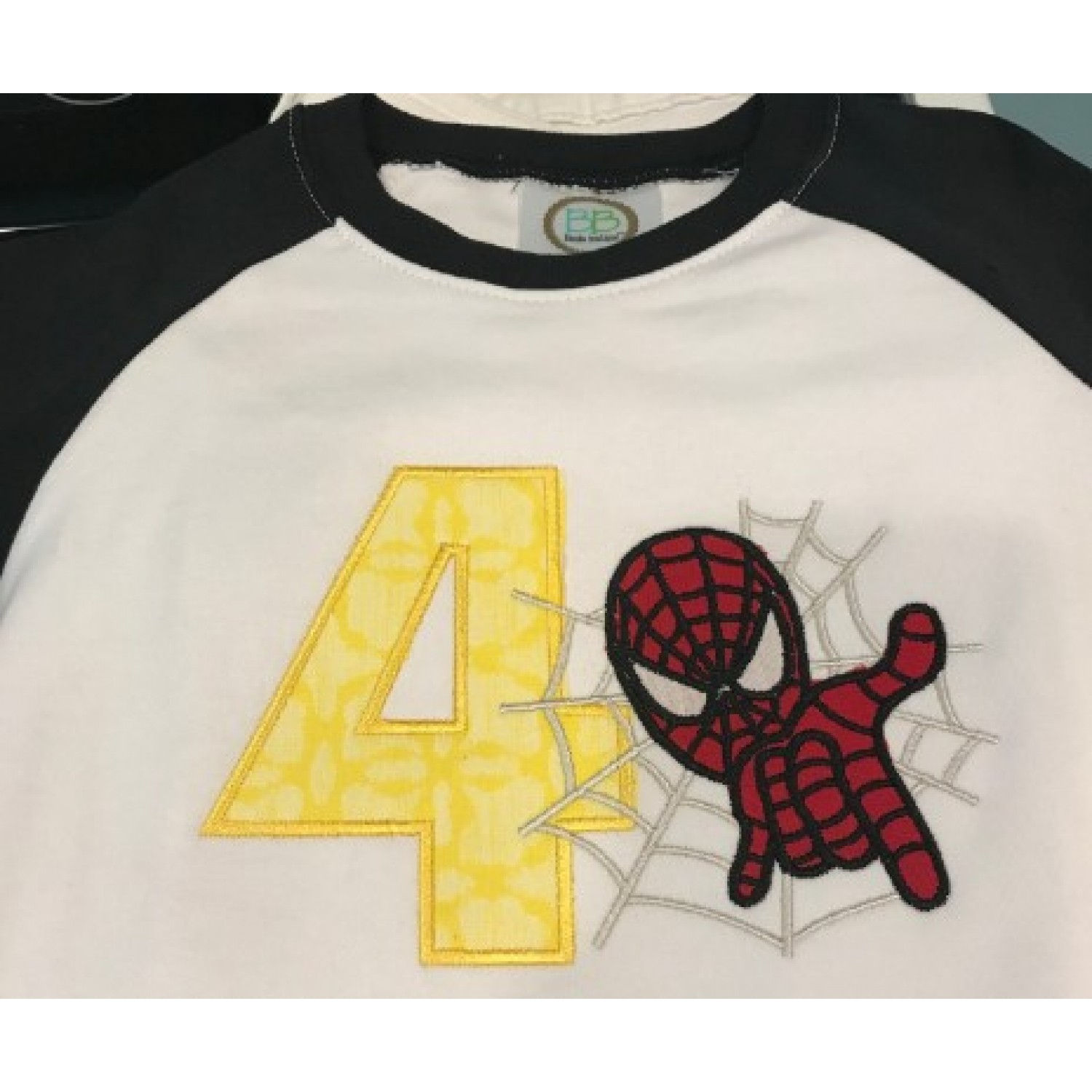 spiderman with number 4 embroidery design