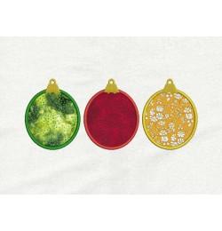 Christmas three ornament applique