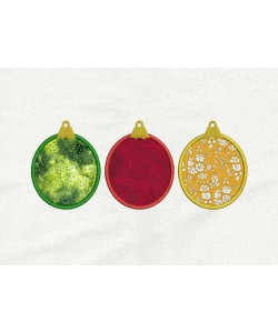Christmas three ornament applique