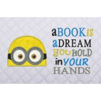 minion face applique with a book is dream
