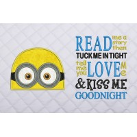 minion face applique with read me a story