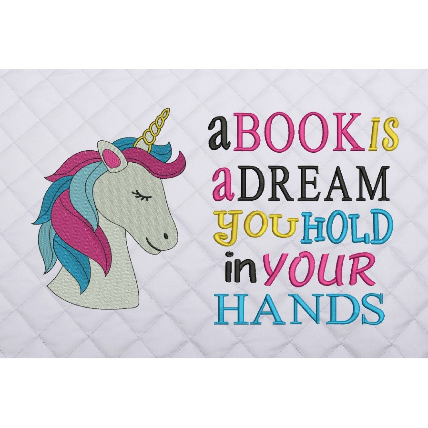 unicorn nas embroidery with a book is a dream