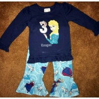Elsa Frozen Birthday with number 3 embroidery design