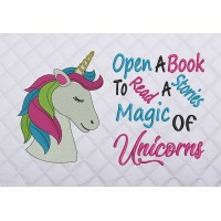 unicorn nas embroidery with open a book