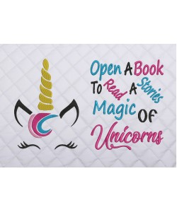unicorn jeune embroidery with open a book