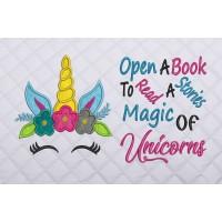 unicorn face applique with open a book