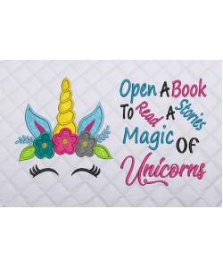 unicorn face applique with open a book